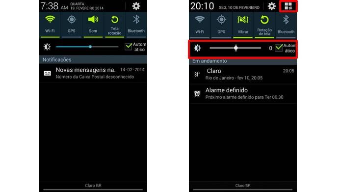 A barra de notificações do Android 4.3 possui um acesso para configurá-la e um marcador o contraste da tela (Foto: Reprodução/Daniel Ribeiro)