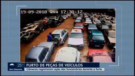 Câmeras de seguranças flagram furto de peças em pátio licenciado de veículos da Polícia Civil em Ibiá; dois foram detidos