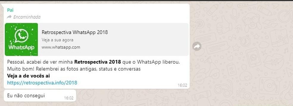Falso recurso oferece retrospectiva no WhatsApp em 2018 — Foto: Reprodução/Twitter