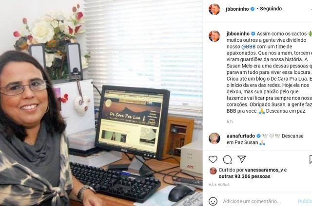 """Boninho homenageia Susan Mello, uma das mais antigas fãs de &squot;BBB"""" (Foto: Reprodução)"""
