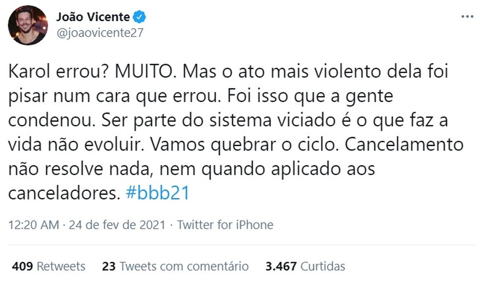 João Vicente de Castro — Foto: Reprodução/Twitter