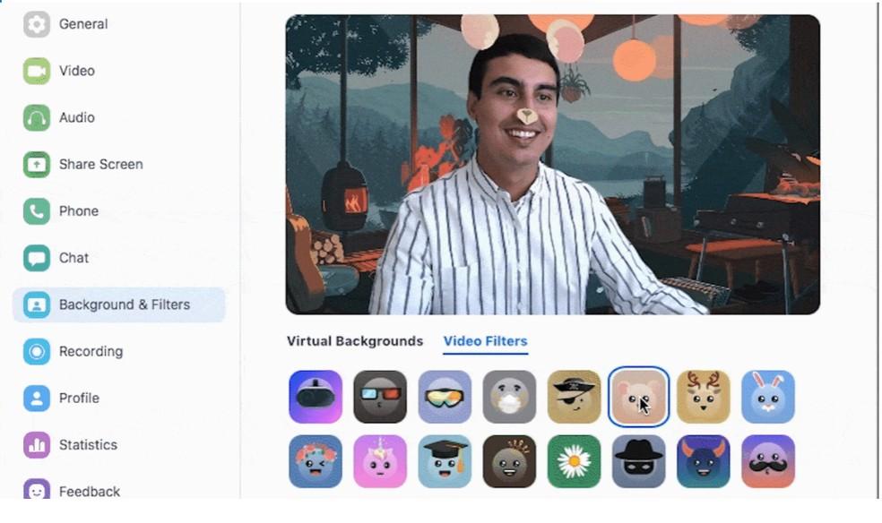 Zoom permite escolher filtros de animais para usar durante vídeochamadas. — Foto: Reprodução / Zoom