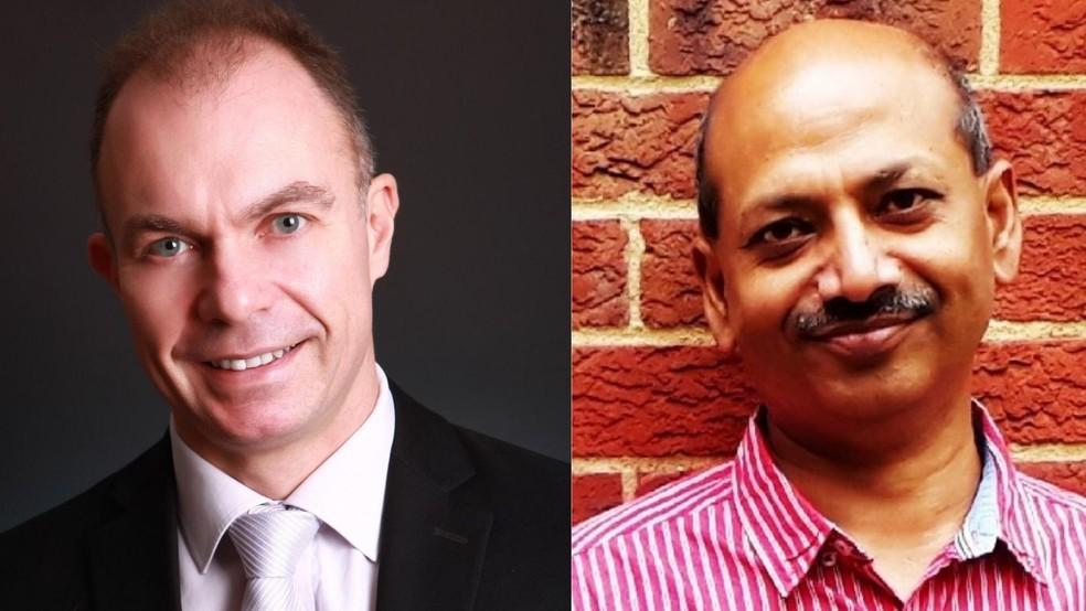 Os especialistas do Reino Unido, David Straim, e da Índia, Rajib Dasgupta, explicam por que os sintomas da gripe da infecção por delta se confundem — Foto: Arquivo pessoal   Reprodução