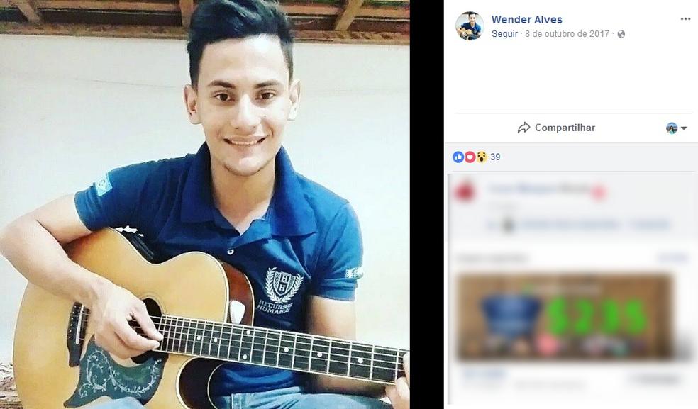 Wender Alves, de 22 anos, ficou gravemente ferido em acidente (Foto: Facebook/ Reprodução)