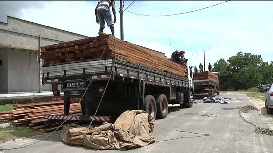 Caminhões com madeira irregular são apreendidos em Santa Inês