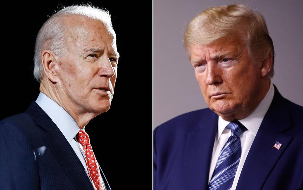 Joe Biden e Donald Trump, candidatos à presidência dos EUA em 2020 — Foto: Arquivo / AP Photo