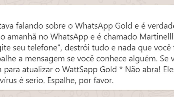 WhatsApp Gold 'Martinelli' é vírus? Saiba quatro coisas