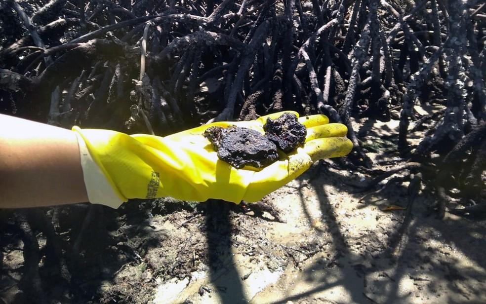 Óleo foi achado em Goiana, no Litoral Norte de Pernambuco — Foto: Reprodução/WhatsApp