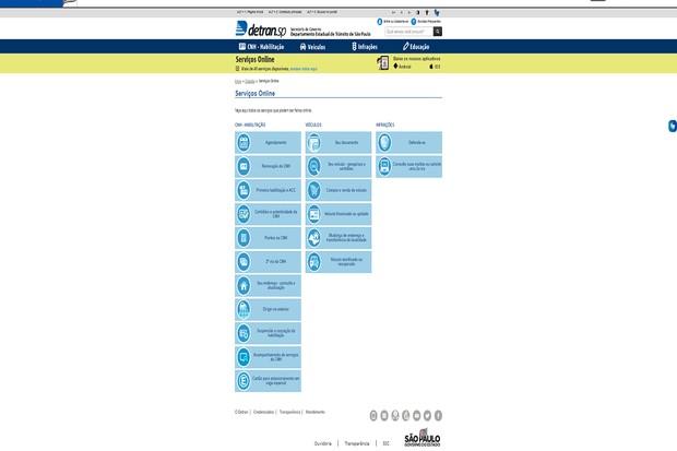 No site do Detran, é possível fazer mais de 40 tipos de serviços online (Foto: Detran)