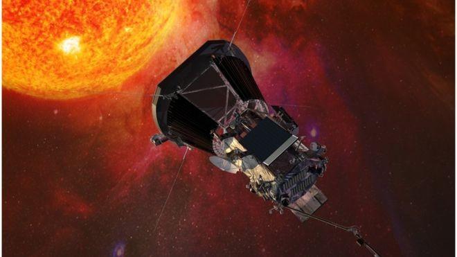 """A nave Parker Solar Probe (PSP) será o primeiro objeto construído por um ser humano a """"tocar"""" no Sol (Foto: John Hopkins University Applied Physics Laborator via BBC)"""