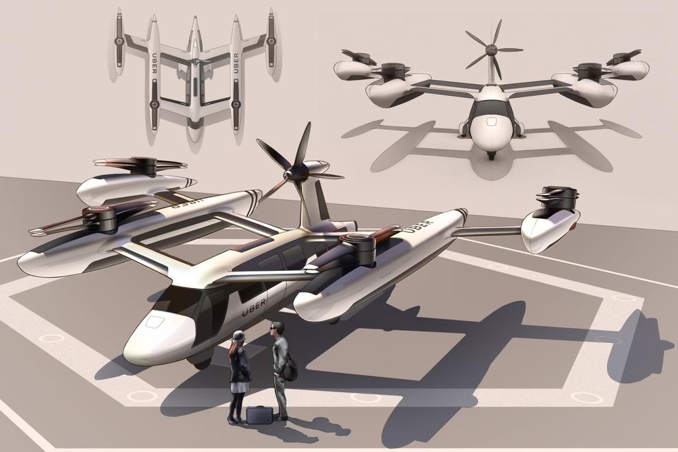 Serviço de 'carona aérea' poderá entrar em operação em 2023 com aeronaves autônomas (Foto: Divulgação/Uber)