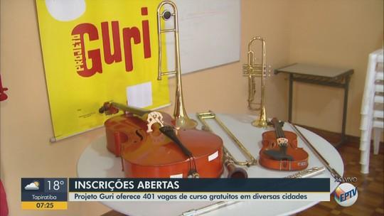 Projeto Guri tem 398 vagas em 13 cidades da região; veja cursos disponíveis