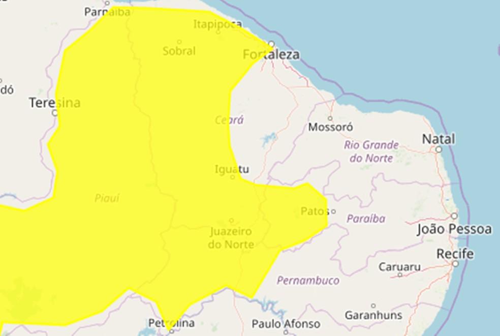 Inmet emite alerta de chuvas intensas para 64 cidades da Paraíba — Foto: Inmet/Reprodução