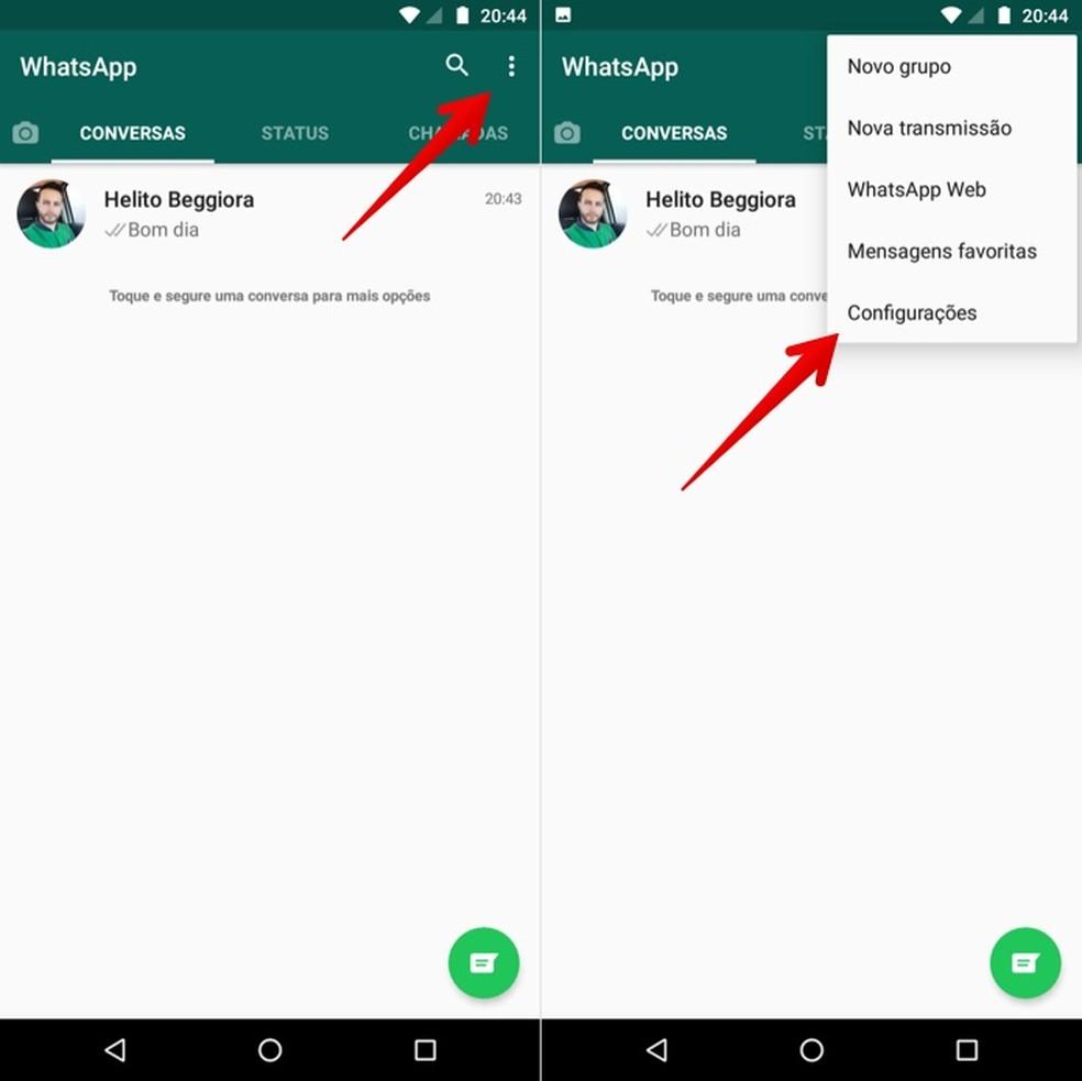 Acesse as configurações do WhatsApp — Foto: Reprodução/Helito Beggiora