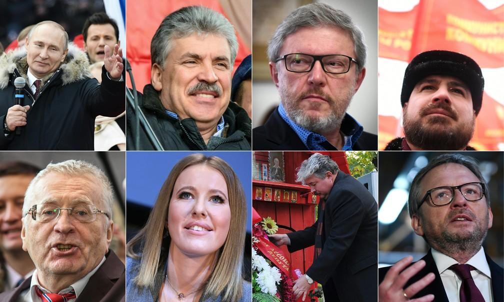 Candidatos da eleição presidencial da Rússica em 2018 (Foto: Mladen Antonov, Kirill Kudryavtsev, Natalia Kolesnikova, Yuri Kadobnov/AFP)