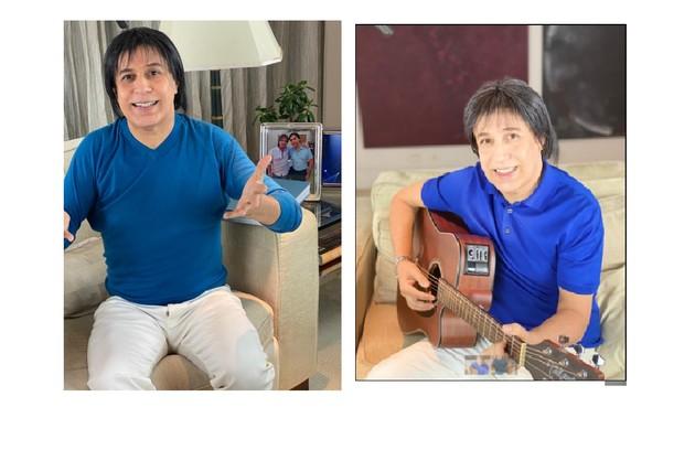 Tom Cavalcante faz, em casa, imitação de Roberto Carlos para especiais da TV (Foto: Divulgação/Multishow)