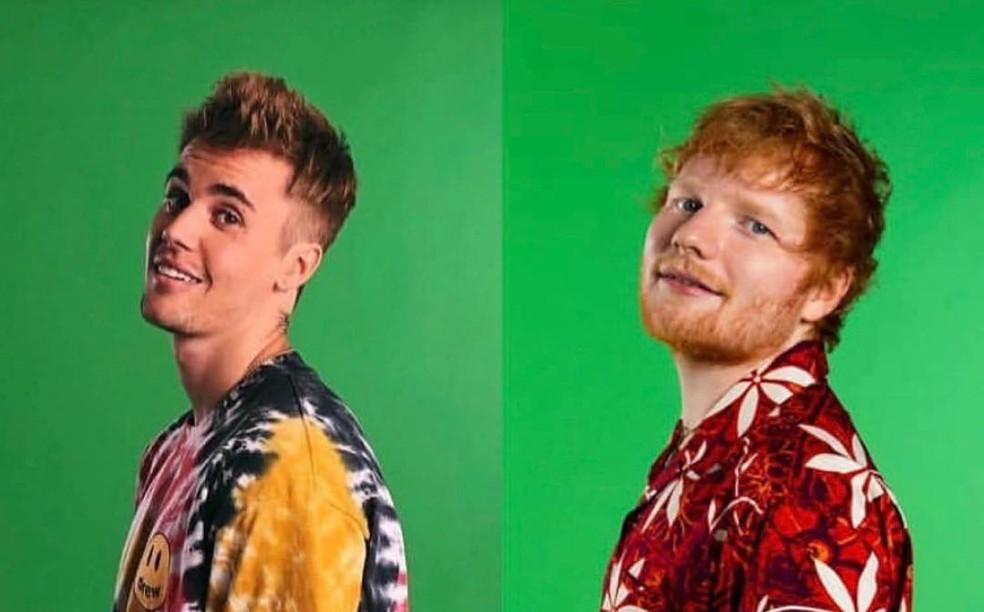 Ed Sheeran e Justin Bieber cantam em 'I don't care' — Foto: Reprodução/Instagram