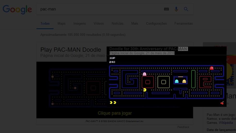 Pac-Man pode ser acessado pelo Google (Foto: Reprodução/Rodrigo Fernandes)