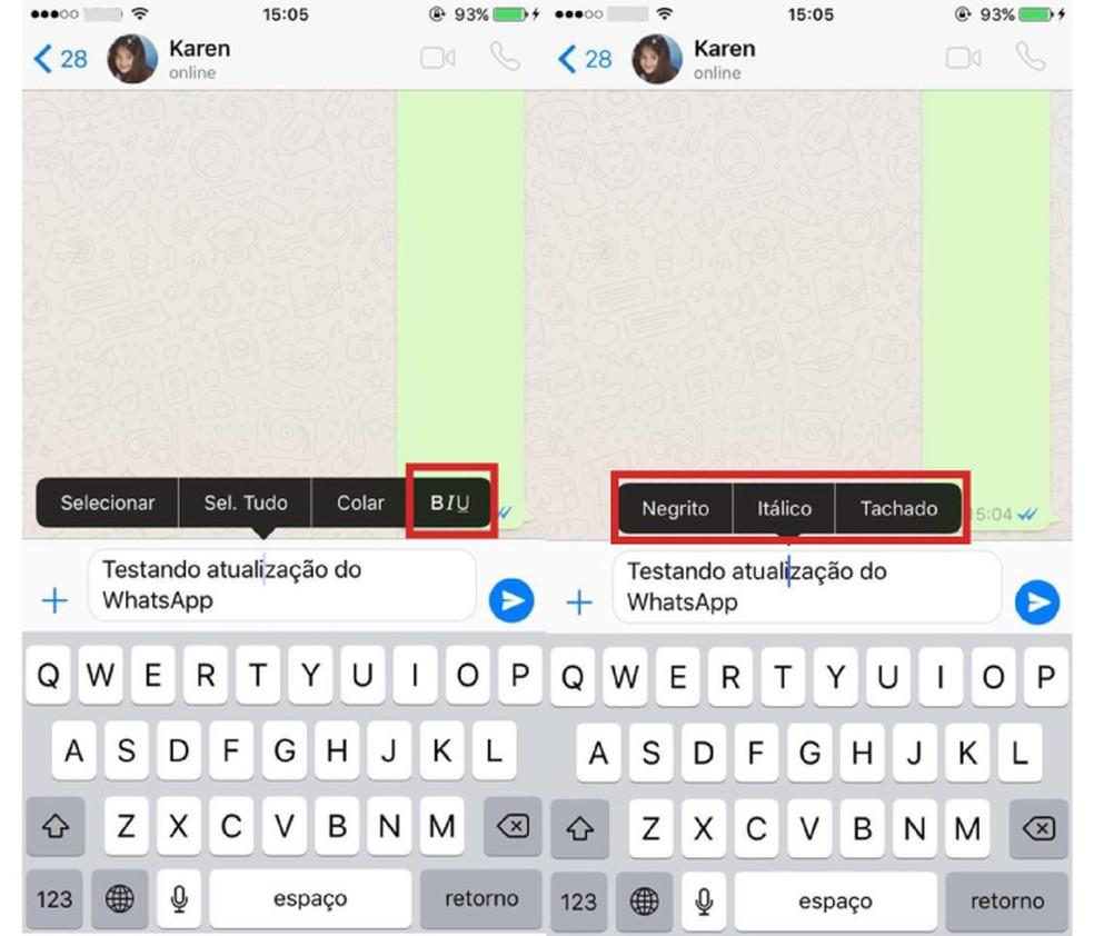 Escolha a formatação que deseja aplicar no WhatsApp (Foto: Reprodução/Karen Malek)