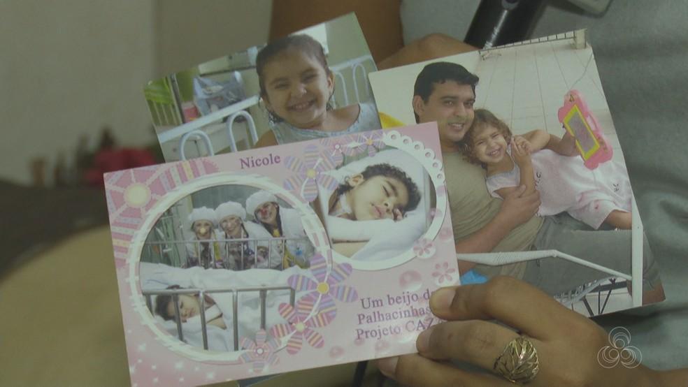 Família registrou todo o tratamento de Nicole. Segundo pai, memórias são importantes para filha reconhecer o valor da vida (Foto: Reprodução/Rede Amazônica Acre)