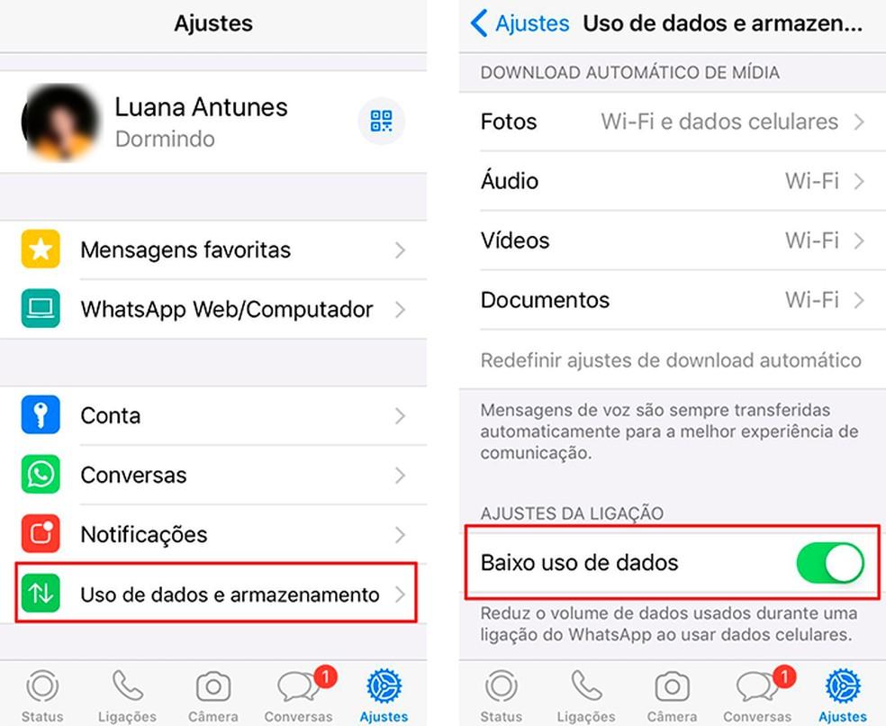 O WhastsApp tem função que diminui o uso de dados economiza o pacote de Internet — Foto: Reprodução/Luana Antunes
