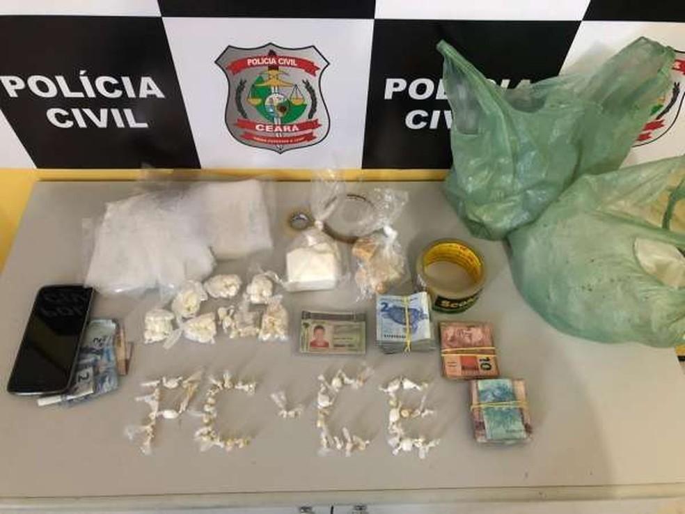 Material apreendido pela Polícia Civil e levado para a Delegacia Regional de Aracati. — Foto: Divulgação/Polícia Civil