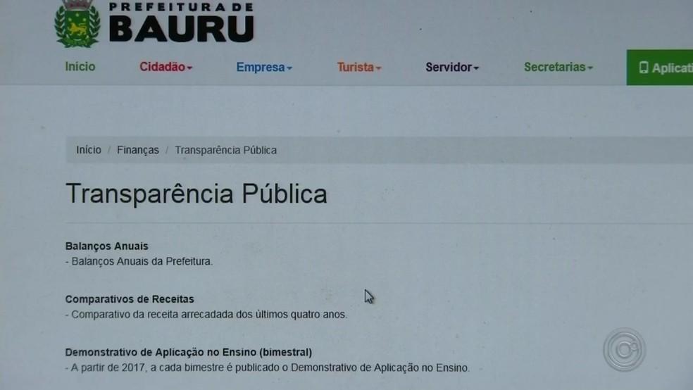 ... Bauru obteve nota alta por portal de transparência ao público — Foto   Reprodução TV 2e88bedd7fc4d