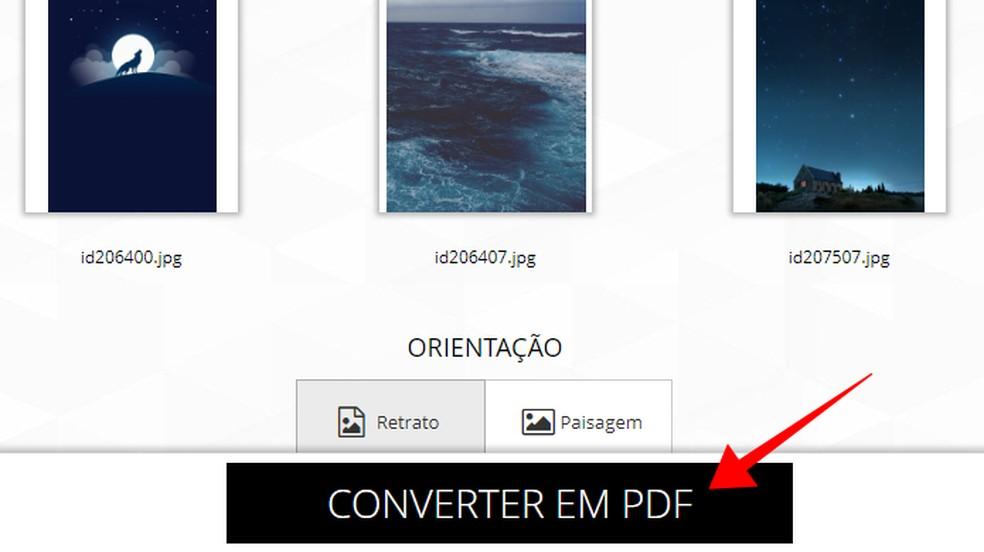 Converta as imagens para PDF — Foto: Reprodução/Paulo Alves