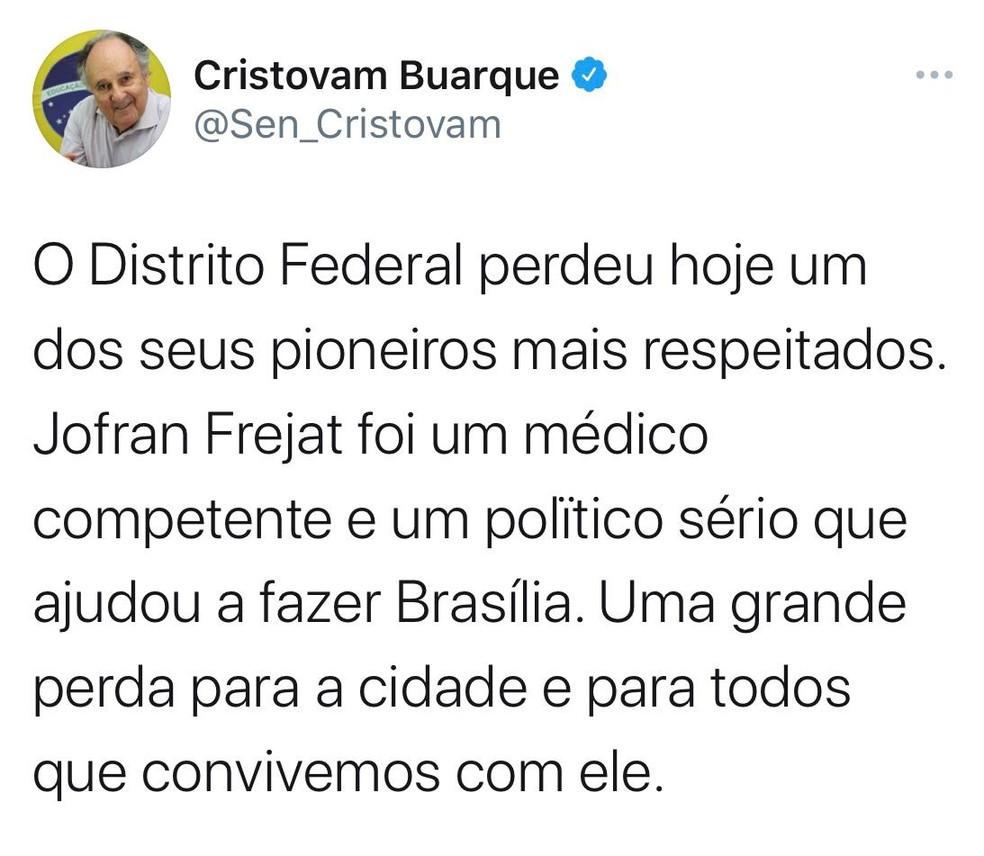 Cristovam Buarque lamenta morte de Jofran Frejat em rede social — Foto: Twitter/Reprodução