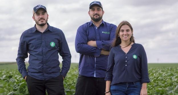 Raphael Pizzi, Thales Nicoleti e Mariana Vasconcelos, da AgroSmart