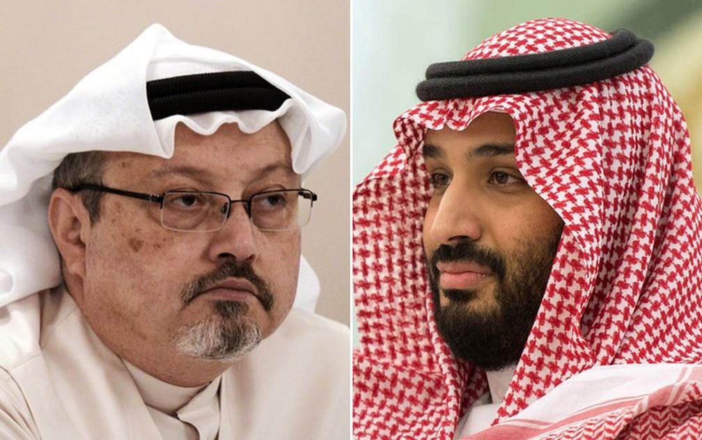 Montagem com fotos do jornalista Jamal Khashoggi e o príncipe Mohammed bin Salman — Foto:  Mohammed al-Shaikh/AFP; Bandar Algaloud/Media Office Of Mohammed Bin Salman/AFP