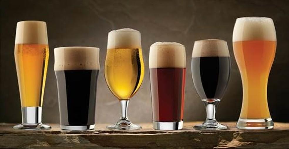 Diferentes tipos de copos de cerveja — Foto: Ambev/ Divulgação