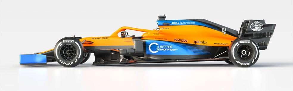 Visão lateral da McLaren-Renault de 2020 — Foto: Divulgação
