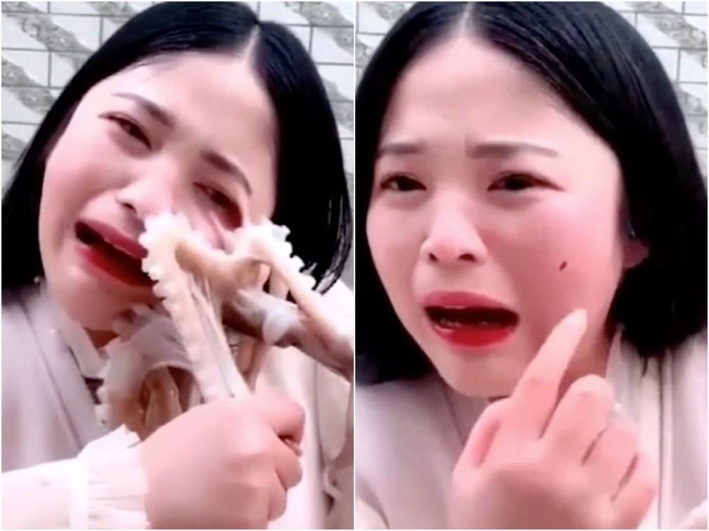 Chinesa é atacada por polvo enquanto tenta comê-lo — Foto: Reprodução