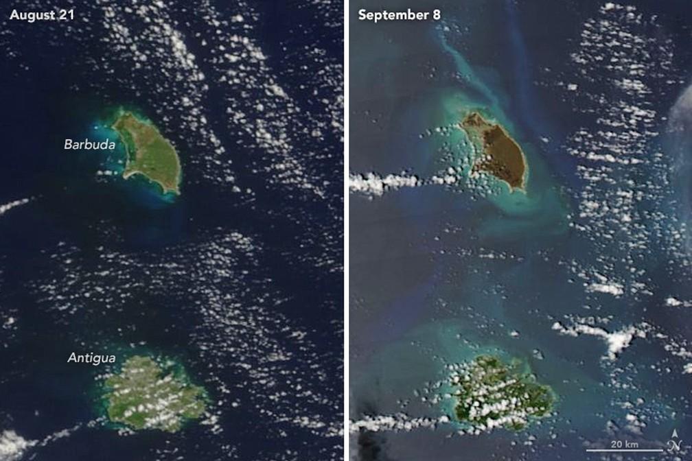 Imagens mostram devastação em Antígua e Barbuda (Foto: Reprodução/NASA)