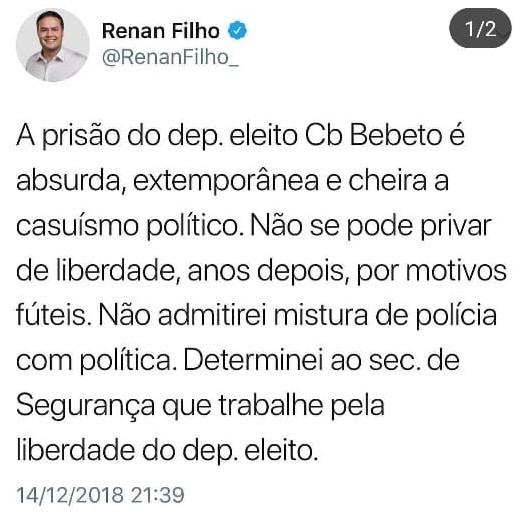 Governador Renan Filho se posiciona contrário à prisão do deputado eleito pelo PSL-AL, cabo Bebeto   - Noticias