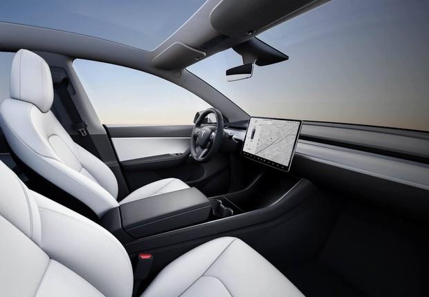 Interior do Model Y, novo carro elétrico da Tesla (Foto: Divulgação/Tesla)
