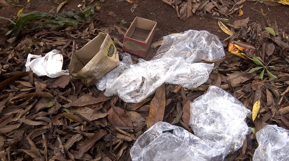 Lixo e água acumulada servem de criadouros para o mosquito da dengue  — Foto: Pedro Santana/EPTV