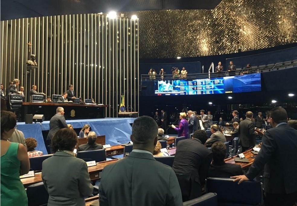 Senadores reunidos em plenário para discutir o afastamento de Aécio Neves (Foto: Alessandra Modzeleski/G1)