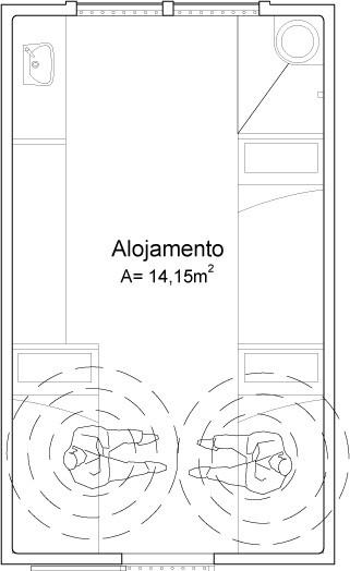 O desenho representa o layout de uma cela atual; quando se levantam, os prisioneiros ficam frente a frente e a uma distância mínima uns dos outros, evitando contaminações (Foto: Suzann Cordeiro)