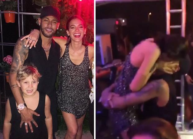Neymar e Davi Lucca com Bruna Marquezine (Foto: Reprodução/Instagram)