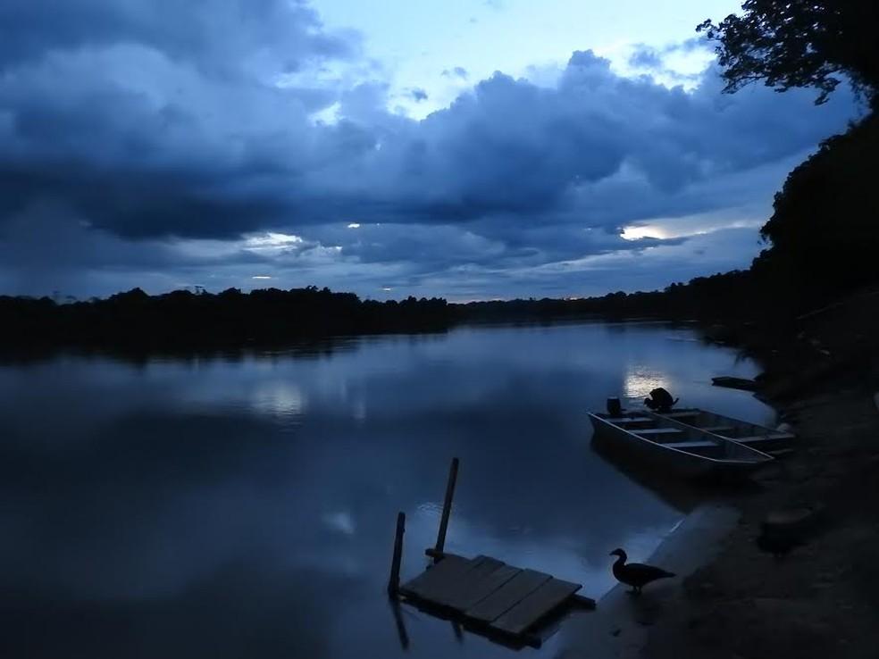 Por do Sol no Rio Guaporé, em Pimenteiras  do Oeste — Foto: Maciel Albino Wobeto/Arquivo pessoal