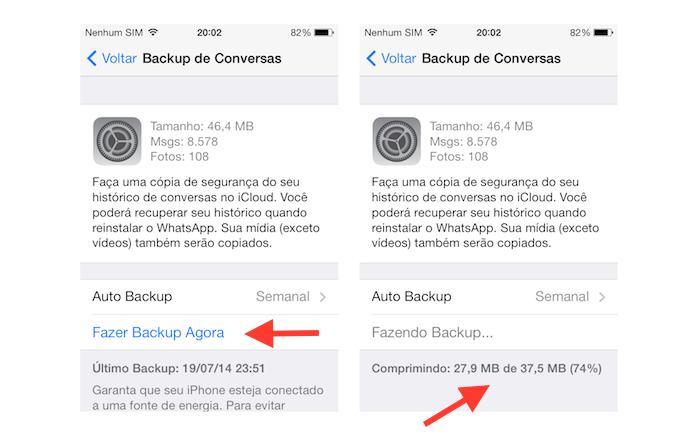 Realizando backup de conversas do WhatsApp no iOS (Foto: Reprodução/Marvin Costa)