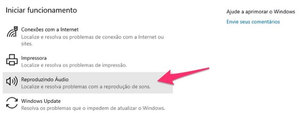 Ação para visualizar opções para solucionar problemas de áudio no Windows — Foto: Reprodução/Marvin Costa