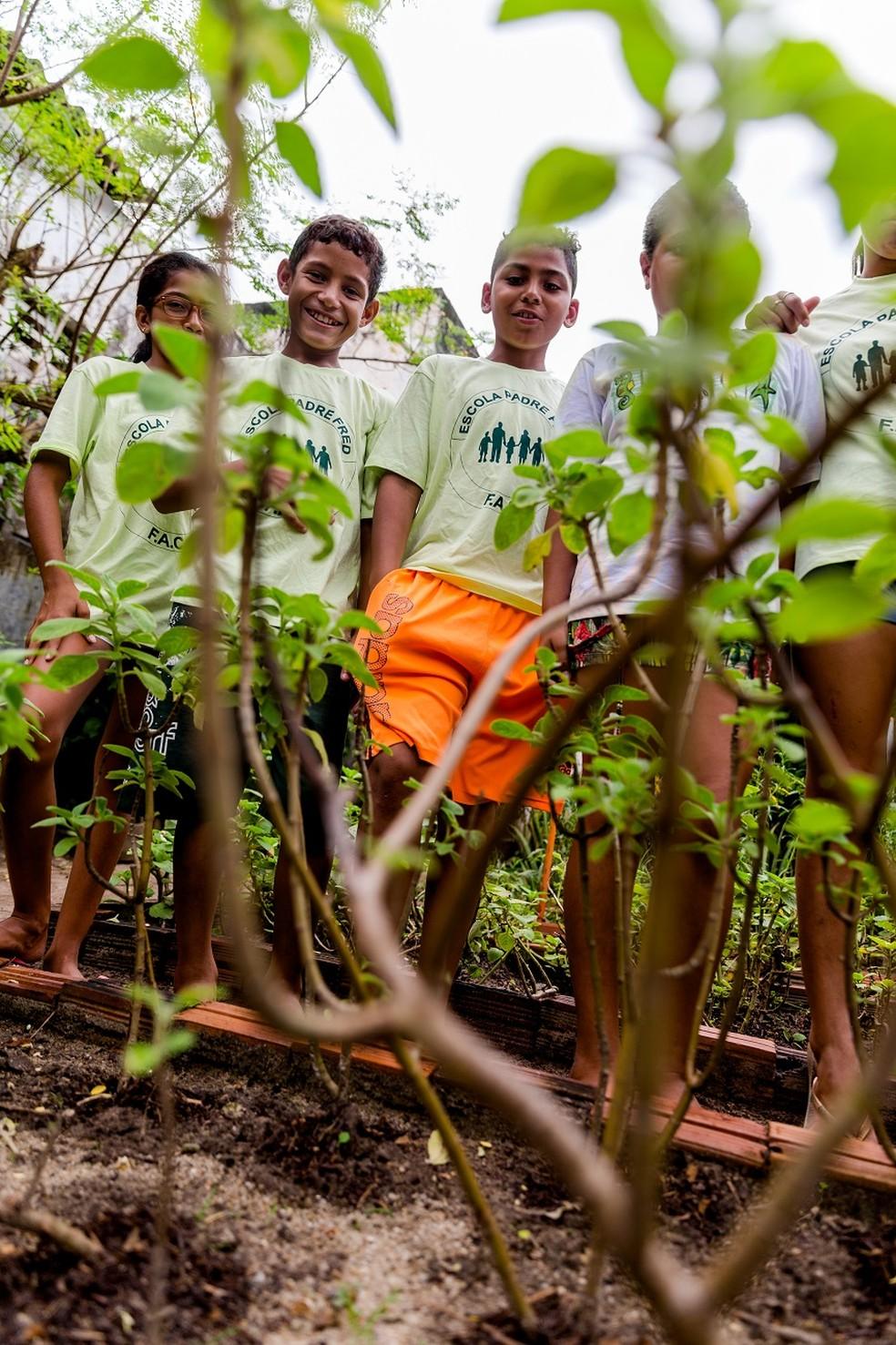 As crianças, moradoras da própria comunidade, participam de atividades na horta no contraturno das aulas nas escolas — Foto: Thiago Gadelha/G1