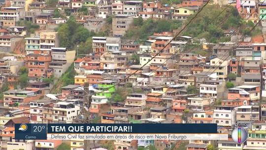 Defesa Civil faz simulado em áreas de risco de Nova Friburgo