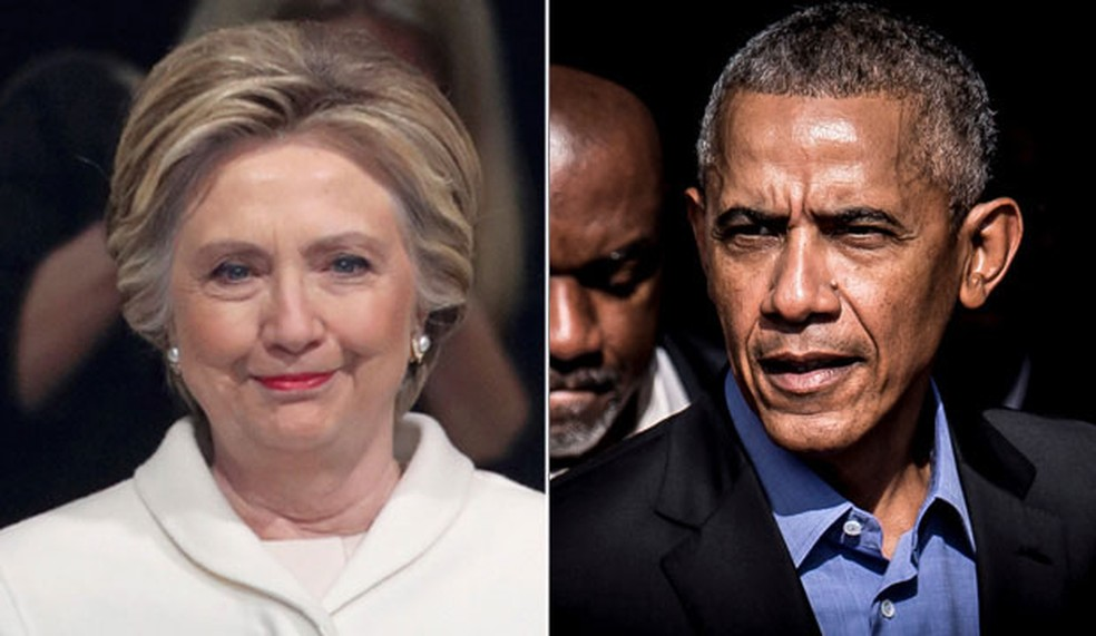 Ex-primeira-dama, Hillary Clinton, e ex-presidente Barack Obama â?? Foto: Carlos Barria/Reuters e Ritzau Scanpix/Mads Claus Rasmussen via REUTERS