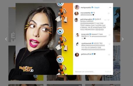 Também influenciadora digital, Mari Gonzalez recebeu o carinho das atrizes Marcella Fetter e Cynthia Senek, da apresentadora Adriane Galisteu e do namorado e ex-'BBB' Jonas Reprodução/Instagram