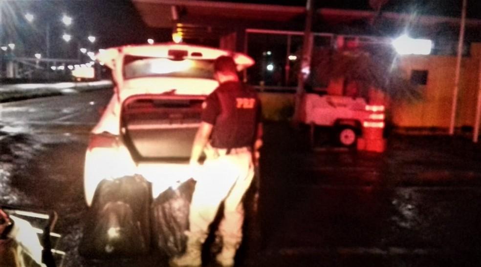 Motorista do veículo foi preso após abordagem da PRF.  — Foto: Foto: Divulgação/PRF
