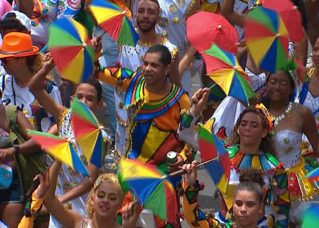 Passistas colorem as ruas do Centro do Recife no desfile do Galo da Madrugada